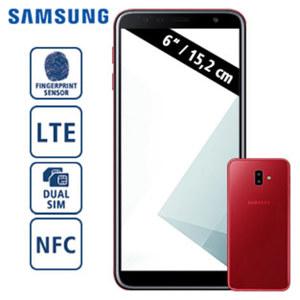 Smartphone Galaxy J6+ DUOS J610 · HD+-Display · Frontkamera 8 MP · Dual-Rückkamera 13 + 5 MP · 3-GB-RAM, 32-GB-Speicher · microSD™-Slot bis zu 512 GB · Android™ 8.1 · nanoSIM