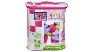 Fisher Price - Mega Bloks First Builders - Bausteinebeutel Medium 60 Teile - pinkfarben