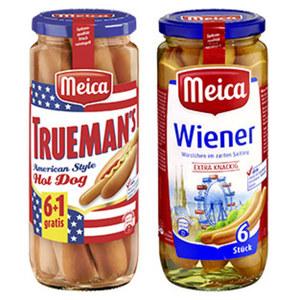 Meica Wiener, Frankfurter Art, Geflügelwürstchen oder Truemans Hot Dog jede 7 Stück = 350-g-Glas/jedes 6 Stück = 250-g-Glas