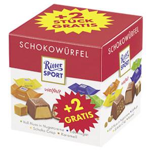 Ritter Sport Schokowürfel + 2 Stück gratis versch. Sorten, jede 192-g-Packung