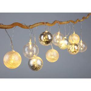 Weihnachtskugel-Lichterkette 10 Kugeln mit LEDs Silber