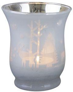 Teelichtglas - Winterwald - 7,5 x 7,5 x 9 cm