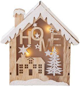 LED-Haus - aus Holz - 19,5 x 6 x 21 cm