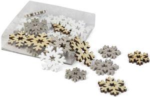 Streudeko - Schneeflocken - aus Holz - 24 Stück