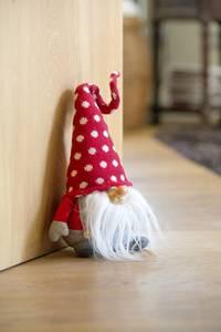 Türstopper Wichtel mit Mütze zum Verbiegen im Set, rot/weiß
