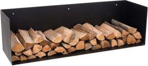Exklusiver Kaminholz-Halter MENDEL, Metall schwarz matt, Kaminholz-Regal zur Wandmontage, bis zu 5 Größen wählbar, max. Belastbarkeit: 70 kg