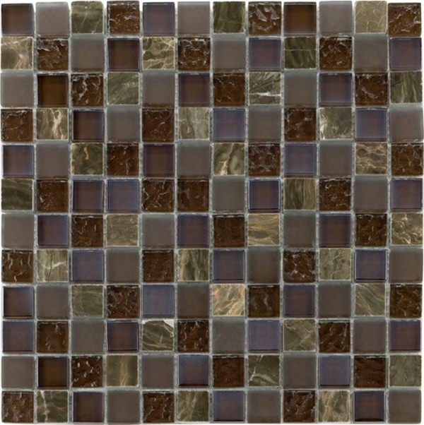 Glas-/Natursteinmosaik RUSTICA ,  braun, 29,8 x 29,8 x 0,8 cm
