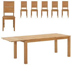 Essgruppe Silkeborg/Stockholm (90x140, 1 Zusatzplatte, 6 Stühle)