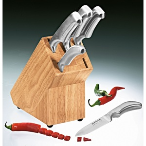 JUSTINUS BRENGER 6-teiliger Messerblock STEEL DESIGN Holz/Edelstahl