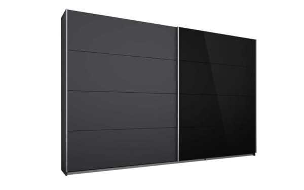 HARDi - Schwebetürenschrank Quadra in grau metallic/Glas schwarz