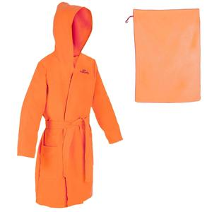 Set Bademantel orange und Mikrofaser-Badetuch L 80 נ130 cm orange Kinder