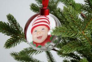 Foto-Weihnachtskugel-Set mit Samtband, Rot & Gold, 2 Stück