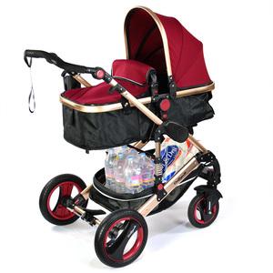 2 in1 Aluminium Kinderwagen Bambimo Bordeaux - Rot / Babywanne und Sportsitz