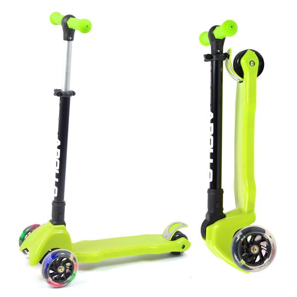 Apollo Scooter - Candy Racer LED - Grün - Kinderscooter ab 3 Jahren, faltbarer Kickboard-Scooter mit  LED Leuchtrollen