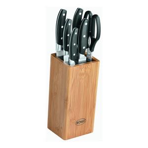 Rösle Elegance Bürsten-Messerblock, 7-tlg., Universalmesser, Brotmesser, Küchenschere, Bambus, 13050