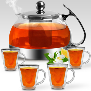 Teekanne aus Glas mit Edelstahl-Sieb 1,2 Liter + 4 doppelwandige Thermo Teegläser - Teebreiter Glaskanne Tee Kanne