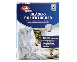 optiWisch Gläser-Poliertücher, 2 Stück