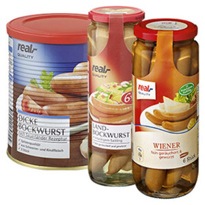 Dicke Bockwurst, Landbockwurst oder Wiener jede 5-Stück-/400-g-Dose/jede 6-Stück = 250-g-Glas/ jedes 6 Stück  = 330-g-Glas, ab 3 Stück je