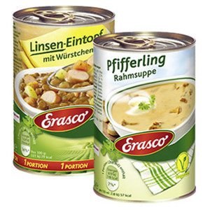 Erasco 1 Portion Linseneintopf oder Pfifferlingrahm Suppe und weitere Sorten, jede 400g/390-ml-Dose