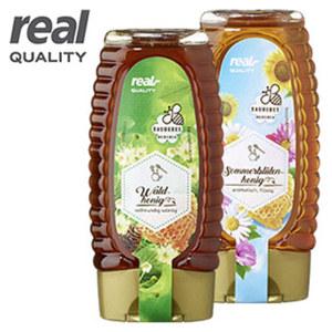 Sommerblüten-Honig und weitere Sorten, jede 340-g-Squeezeflasche