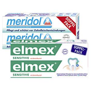 elmex Sensitive oder meridol Zahncreme jede 2 x 75-ml-Packung