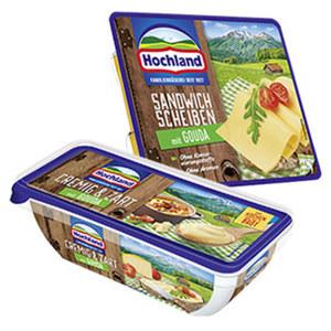 Hochland Sandwich Scheiben, Schmelzkäsescheiben, Schmelzkäse-Ecken oder Käse Creme Schmelzkäsezubereitung, 45/50 % Fett i. Tr., versch. Sorten, jede 150/200-g-Packung
