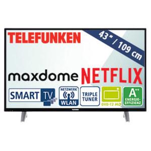 "43""-FullHD-LED-TV D43F287N4CWII HbbTV, H.265, 3 HDMI-/2 USB-Anschlüsse, CI+, Stand-by: 0,5 Watt, in Betrieb: 37 Watt, Maße: H 57,2 x B 97,4 x T 8,6 cm, Energie-Effizienz A++ (Spektrum A++ bis E)"