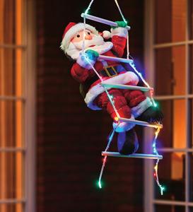 Weihnachtsmann mit LED-Leiter