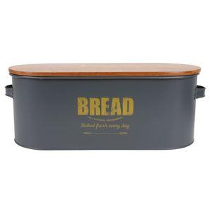 Brotkasten Bread 46x16x18cm Dunkelgrau mit Holzdeckel