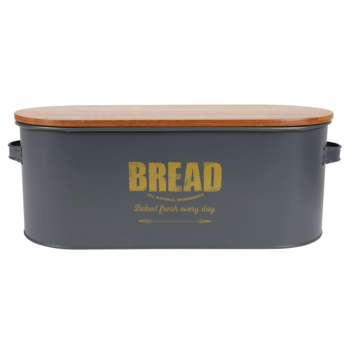 Bild 1 von Brotkasten Bread 46x16x18cm Dunkelgrau mit Holzdeckel