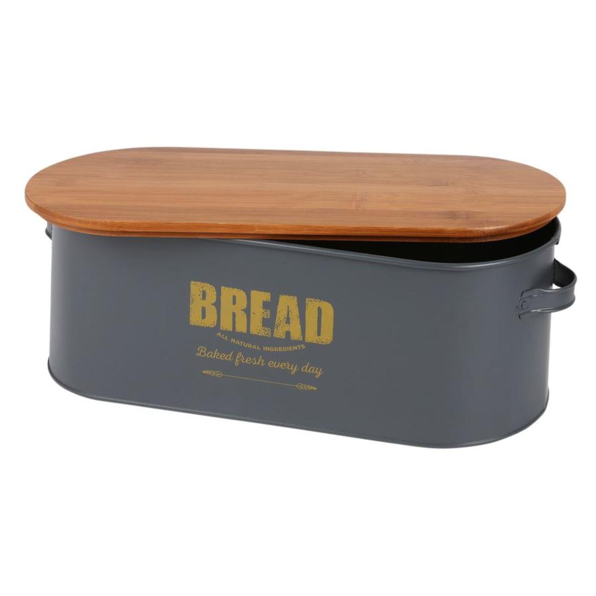 Bild 2 von Brotkasten Bread 46x16x18cm Dunkelgrau mit Holzdeckel