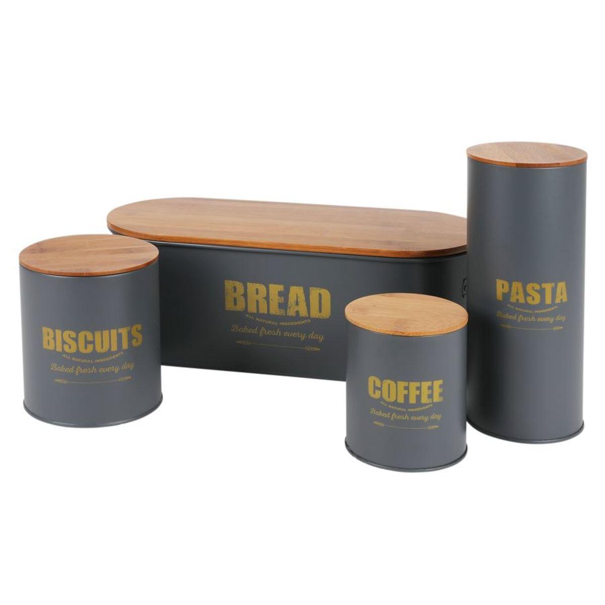 Bild 3 von Brotkasten Bread 46x16x18cm Dunkelgrau mit Holzdeckel