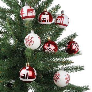 Weihnachtsbaumkugeln DIA 8cm 16er-Set Rot/Weiß