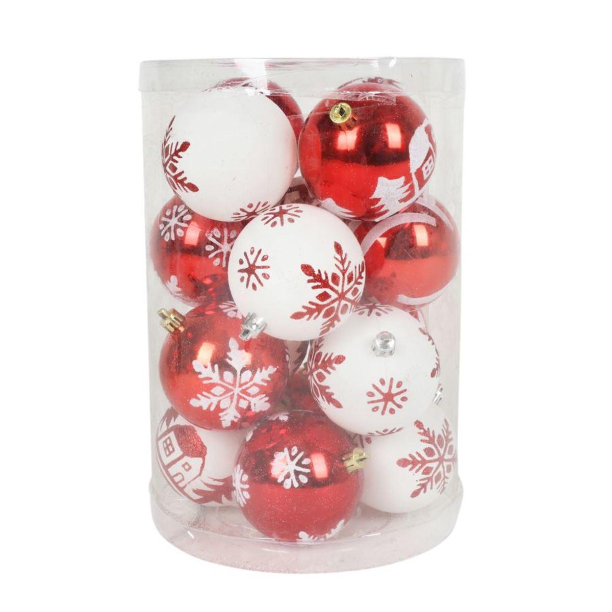 Bild 2 von Weihnachtsbaumkugeln DIA 8cm 16er-Set Rot/Weiß
