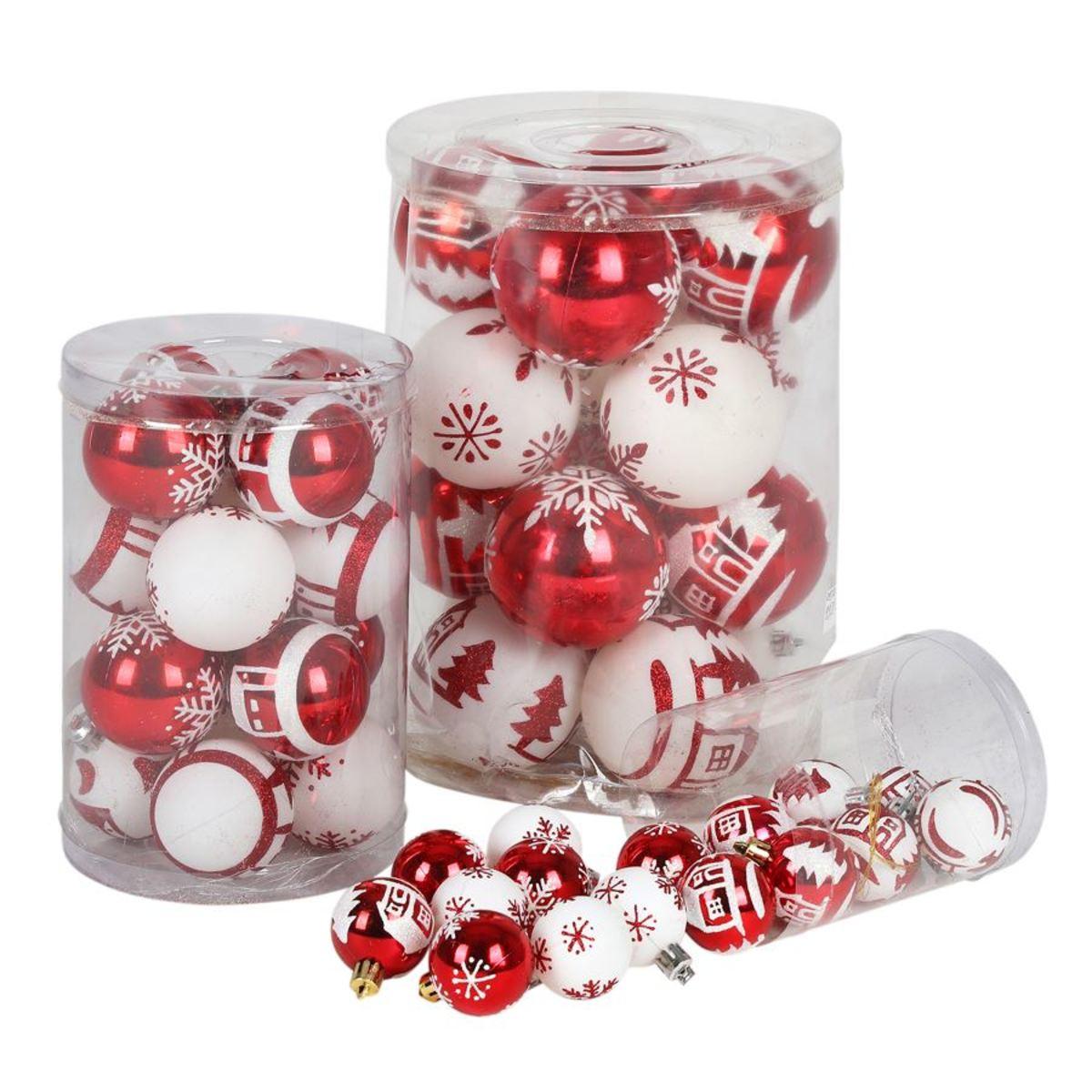 Bild 3 von Weihnachtsbaumkugeln DIA 8cm 16er-Set Rot/Weiß