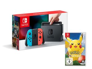 Nintendo Switch Konsole Neon-Blau/Neon-Rot + Pokémon: Let´s Go, Pikachu!