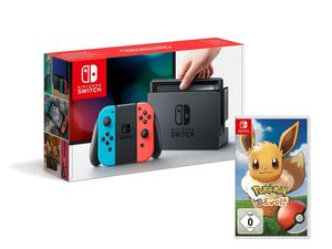 Nintendo Switch Konsole Neon-Blau/Neon-Rot + Pokémon: Let´s Go, Evoli!