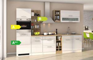 Held Möbel Küchenzeile Seattle 300 cm Hochglanz Weiß
