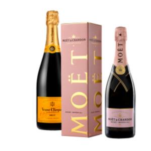 Champagner Moët & Chandon Impérial Rosé Brut oder Veuve Clicquot Brut