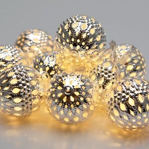 10er LED-Metallbälle-Lichterkette Ø 2,5 cm warmweiß batteriebetrieben