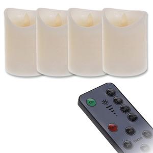 LED-Echtwachskerzen flackernd 4er-Set mit Fernbedienung und Timer