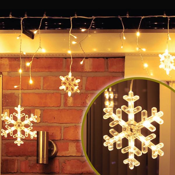 150er LED-Schneeflocken-Lichterkette warmweiß mit 8 Funktionen für Außen & Innen