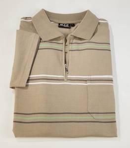 Poloshirt mit Reißverschluss, grün gestreift