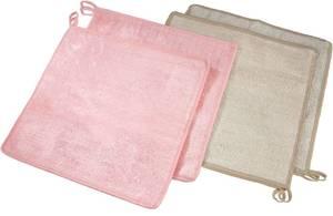 Bambus Reinigungstücher 4er Set, rosa & beige