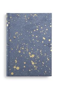 Notizbuch mit goldenen Farbspritzern