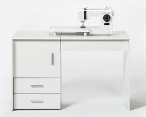 FMD Möbel Nähmaschinentisch/ Nähtisch 119,5 x 74,9 x 49,9 cm, Farbe Weiß