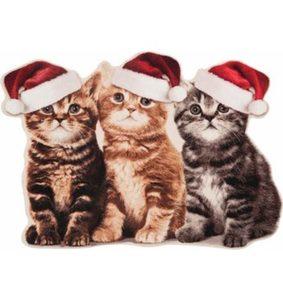 Fußmatte »Weihnachtskatzen«, HANSE Home, rechteckig, Höhe 7 mm, Konturmatte