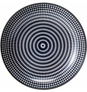 Van Well Suppenteller, Porzellan, 6 Stück, »Black Circle«