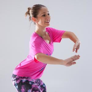T-Shirt Tanzen kurz Damen rosa