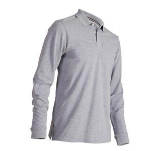 Golf-Poloshirt 500 Langarm Herren grau meliert